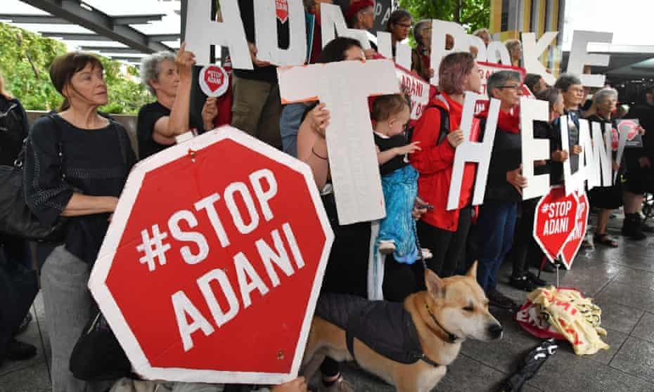File photo of anti-Adani coalmine protesters in Brisbane, Australia
