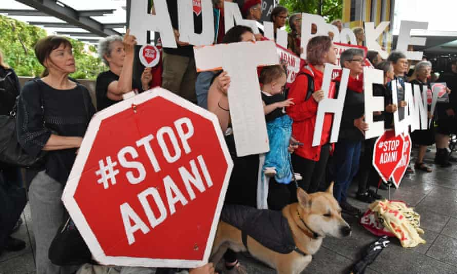 File photo of anti-Adani coalmine protesters in Brisbane