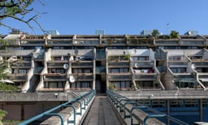 Ziggurat-style balconies on the Alexandra Road Estate, Camden, designed by Neave Brown in 1968.