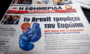 The EJO study didn't cover Greece, but this Athens headline prior to the referendum, 'Brexit Scares Europe', fits with the researchers' findings.