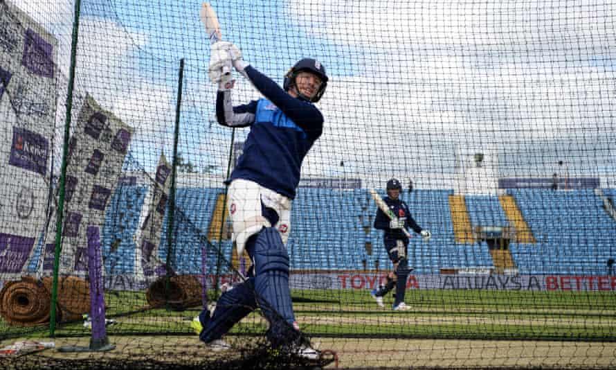 Eoin Morgan hits out during his net at Headingley