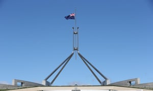 The flag on parliament house Canberra this morning at half mast for the state funeral of former prime minister Malcolm Fraser, Friday 27th March 2015.