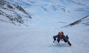 Steck flying up the first ice field of the Colton Macintyre route up the north face of the Grandes Jorasses in the Mont Blanc massif on the boundary between France and Italy.