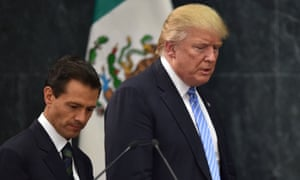Donald Trump with Mexican president Enrique Peña Nieto. Along with Canadian PM Justin Trudeau they have agreed to reshape the Nafta deal.