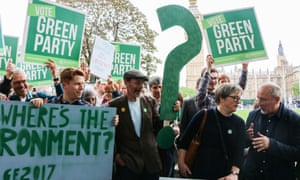 Green Party campaign, people holding placards, Westminster, London, UK.