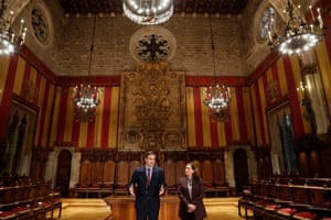 Barcelona, Spain The Spanish prime minister, Pedro Sanchez, delivers a speech next to Barcelona's mayor, Ada Colau, during his visit at the City Hall.