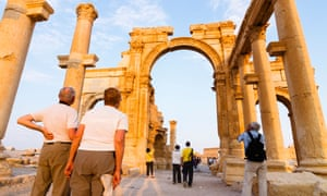 Sightseers visiting Palmyra