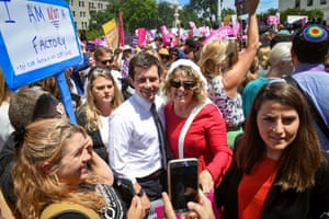 Washington, DC, USA; 2020 Democratic Presidential candidate Pete Buttigieg, the mayor of South Bend, Indiana walks through protesters who are at rally to stop the abortion bans in the United States on the steps of the U.S. Supreme Court in Washington on May 21, 2019.