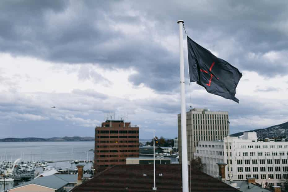 Siren Song taking place in Hobart, with Dark Mofo HQ flag, for Dark Mofo 2017