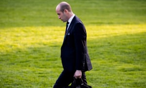 Stephen Miller, senior adviser to Donald Trump, walks across the South Lawn of the White House on 4 November.