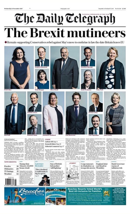 'Brexit mutineers' front page from the Daily Telegraph
