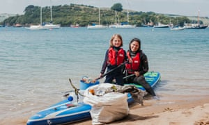 Anna Turns and her daughter Ella who paddled 22 miles picking up plastic , Salcombe, Devon