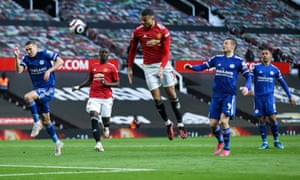 Mason Greenwood of Manchester United heads at goal.