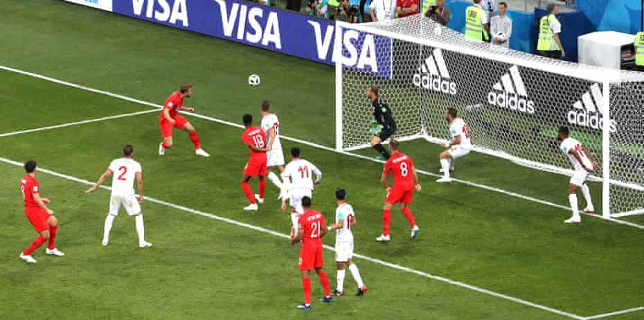 Harry Kane scores England's winning goal against Tunisia at the 2018 World Cup.