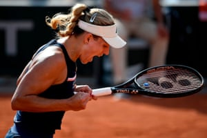 Kerber celebrates winning her match against Bogdan.