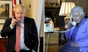 The UK prime minister on the telephone to Queen Elizabeth II for her weekly audience