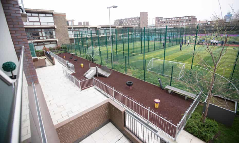 The play area that residents of Wren Mews are allowed to use. The sports pitches next to them are not part of the development.