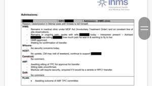 Redacted document referring to health of refugee 'Zamal ' on Nauru