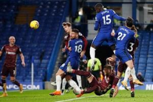 Chelsea's Kurt Zouma scores their second goal.