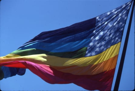 One of the original eight-color rainbow flags flying at United Nations Plaza during San Francisco Gay Freedom Day 1978