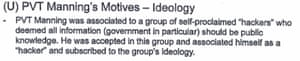 The Insider Threat program's assessment of Chelsea Manning's motives.