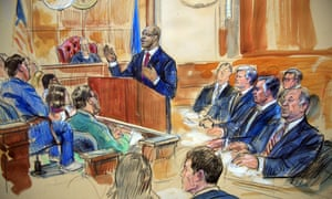 A courtroom sketch depicts Paul Manafort, seated in the right row, second from right; the jury, seated left; and Judge TS Ellis III listening to the assistant US attorney Uzo Asonye, standing.