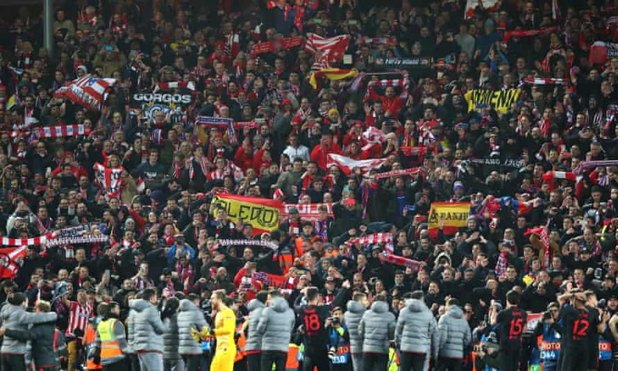 Thousands of Atlético Madrid supporters travelled to Liverpool for the Champions League match on 12 March.