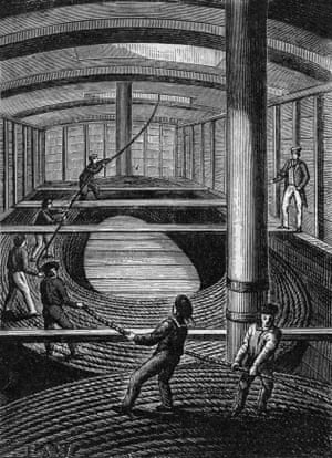 Workers wind the cable to be laid under the Channel  in 1851
