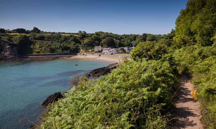 Cwm-yr-Eglwys bay, near Dinas Head, as seen from the Pembrokeshire Coast Path, near Fishguard, Pembrokeshire, Wales