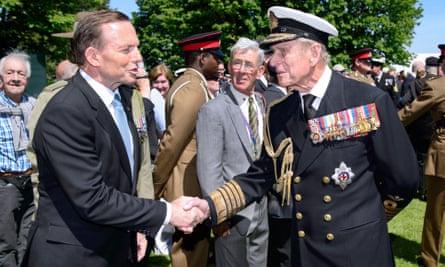 Tony Abbott greets Prince Philip