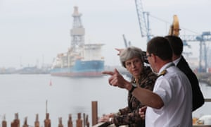 Theresa May visiting the harbourmaster's office in Teesport on Wednesday
