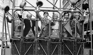 John McCririck, far right, in 1983 with the Thames TV Derby day presenters, from left, Graham Goode, John Oaksey, Brough Scott, Judith Chalmers and Derek Thompson.