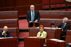 One Nation senator Brian Burston delivers his first speech in the senate chamber this evening.