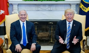 Donald Trump and Benjamin Netanyahu in the Oval Office of the White House on 5 March 2018 in Washington DC.