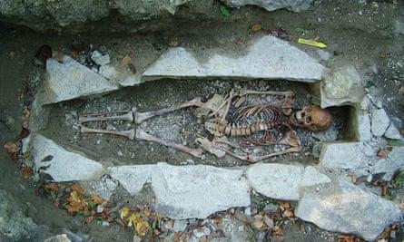 A female skeleton named Kata found at a Viking burial site in Varnhem, Sweden.