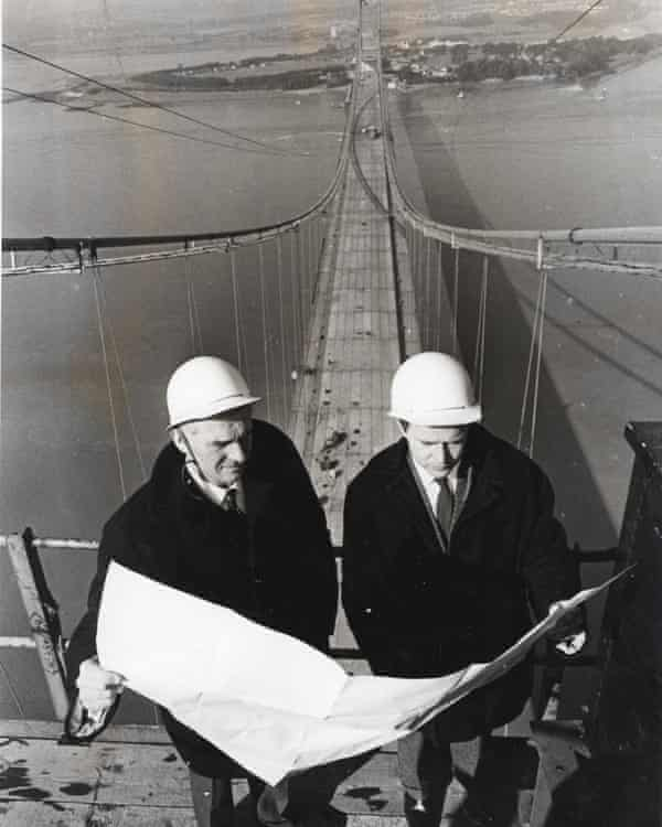 Michael Parsons, right, with his colleague Brian Smith at the top of the Severn Bridge during its construction