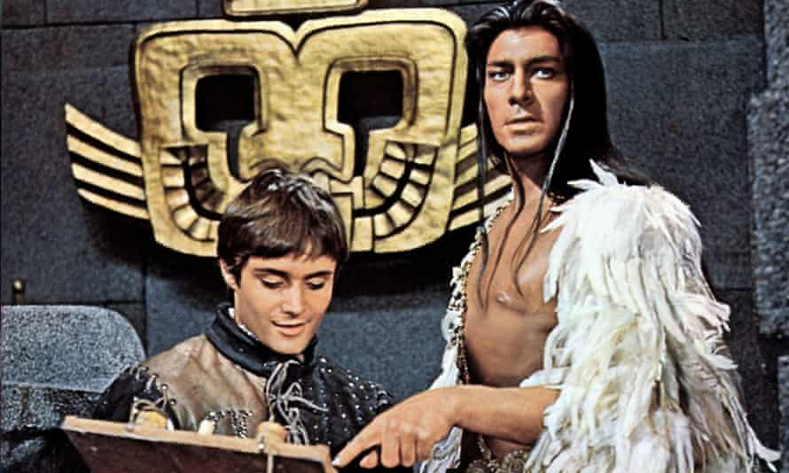 Christopher Plummer, right, as Atahuallpa andLeonard Whiting as Young Martin in the film version of The Royal Hunt of the Sun, 1969.