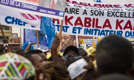 Supporters of the Democratic Republic of the Congo's president, Joseph Kabila, celebrate his 45th birthday at the Velodrome stadium. Kabila's term expires in December.