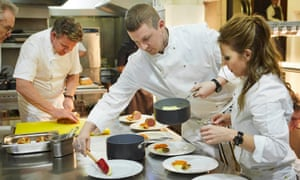 Gordon Ramsay gets some celebrity help from (left to right) Larry Lamb, Professor Green and Geri Horner