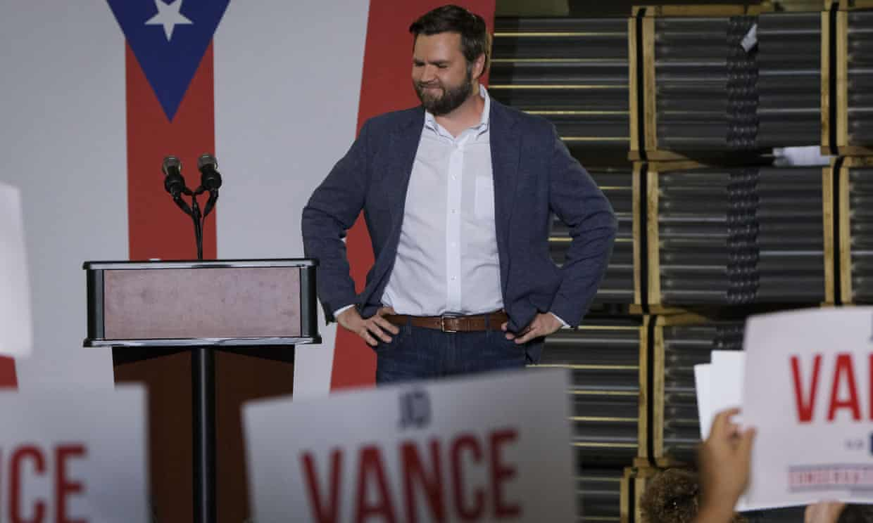 JD Vance, the venture capitalist and author of Hillbilly Elegy addresses a rally on 1 July 2021, in Middletown, Ohio. Photograph: Jeffrey Dean/AP