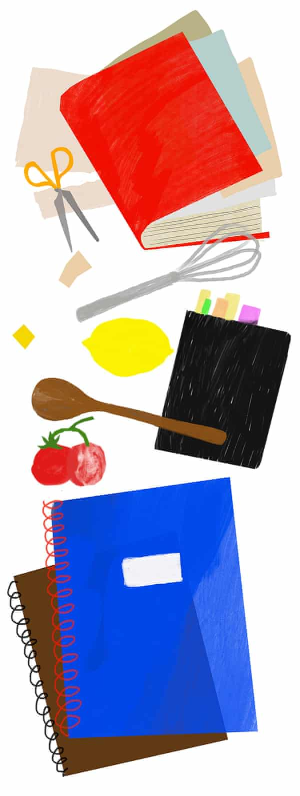 An illustration of a closed notebook with bits of paper falling out of it, two ring binders, a wooden spoon, a whisk, scissors, a lemon and tomatoes