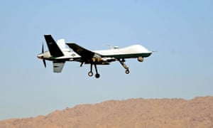 A US military drone takes off from Kandahar airbase in Afghanistan.