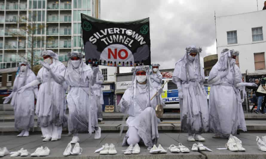 An Extinction Rebellion protest in August 2020 against the planned Silvertown tunnel.