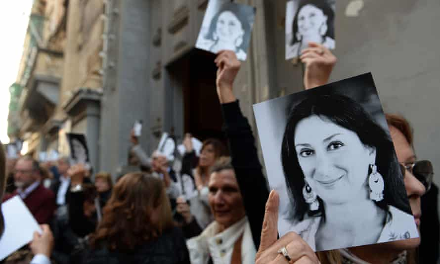 A mass in Valletta in April 2018 in memory of the murdered journalist Daphne Caruana Galizia.