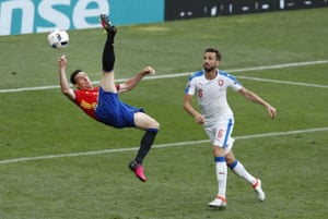 Spain's Aritz Aduriz lets fly with an overhead kick against Czech Republic in the Euro 2016 Group D match.