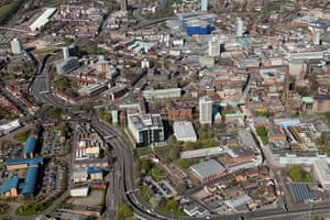 Coventry city centre, with St Michael's Cathedral and the ring road.