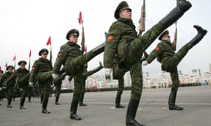 Russian soldiers taking part in a Victory Day parade.
