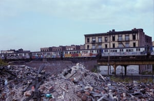 Destroyed and Abandoned buildings along Hoe Ave and the IRT line in the Bronx, 1981.