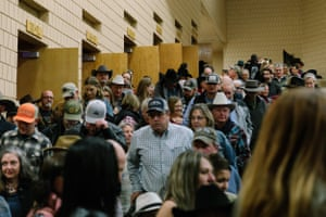 "A crowd gathers after the ""Ride & Write 'Em Pretty"" event at the 35th National Cowboy Poetry Gathering in Elko, Nev. on February 2, 2019."