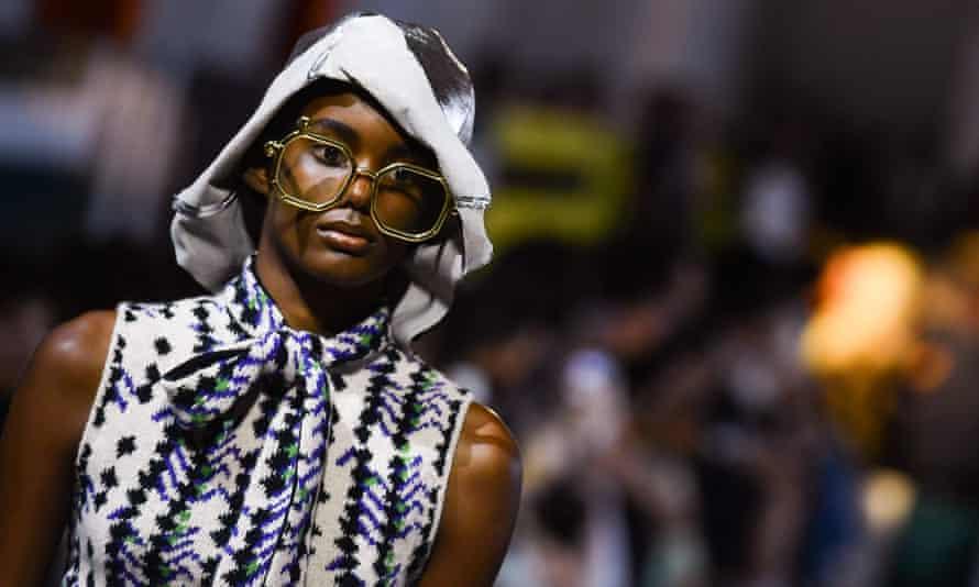 A model on the Prada catwalk during Milan fashion week.